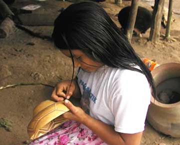 Girl making a plate